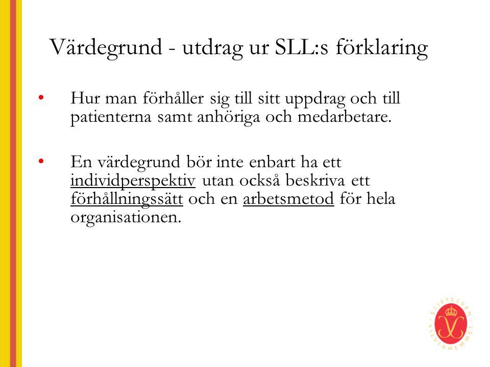 Värdegrund - utdrag ur SLL:s förklaring •Hur man förhåller sig till sitt uppdrag och till patienterna samt anhöriga och medarbetare.