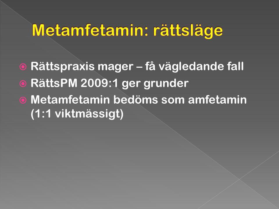  Rättspraxis mager – få vägledande fall  RättsPM 2009:1 ger grunder  Metamfetamin bedöms som amfetamin (1:1 viktmässigt)