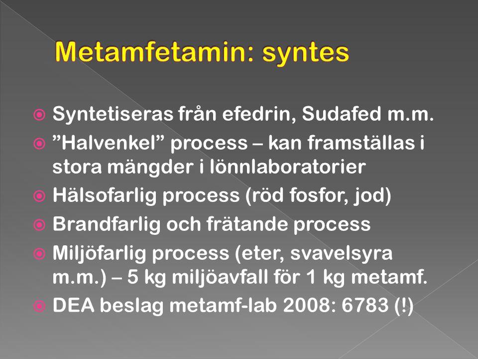 """ Syntetiseras från efedrin, Sudafed m.m.  """"Halvenkel"""" process – kan framställas i stora mängder i lönnlaboratorier  Hälsofarlig process (röd fosfor"""