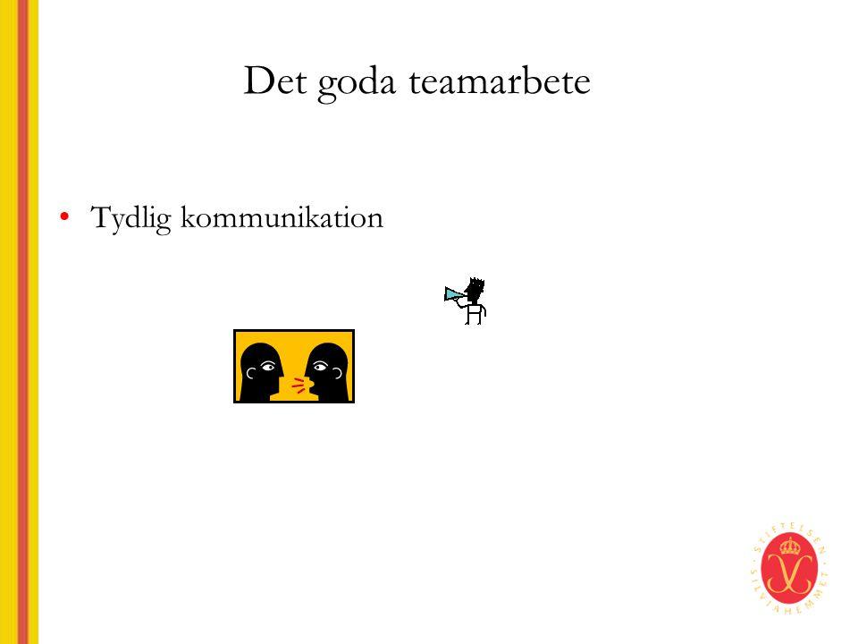 Det goda teamarbete •Tydlig kommunikation