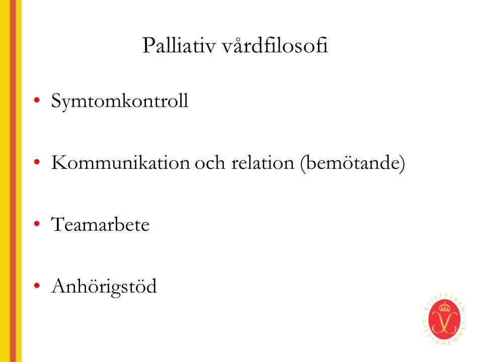 Palliativ vårdfilosofi •Symtomkontroll •Kommunikation och relation (bemötande) •Teamarbete •Anhörigstöd