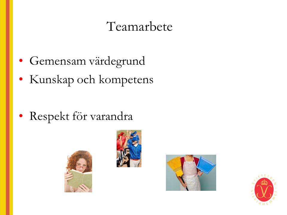 Teamarbete •Gemensam värdegrund •Kunskap och kompetens •Respekt för varandra