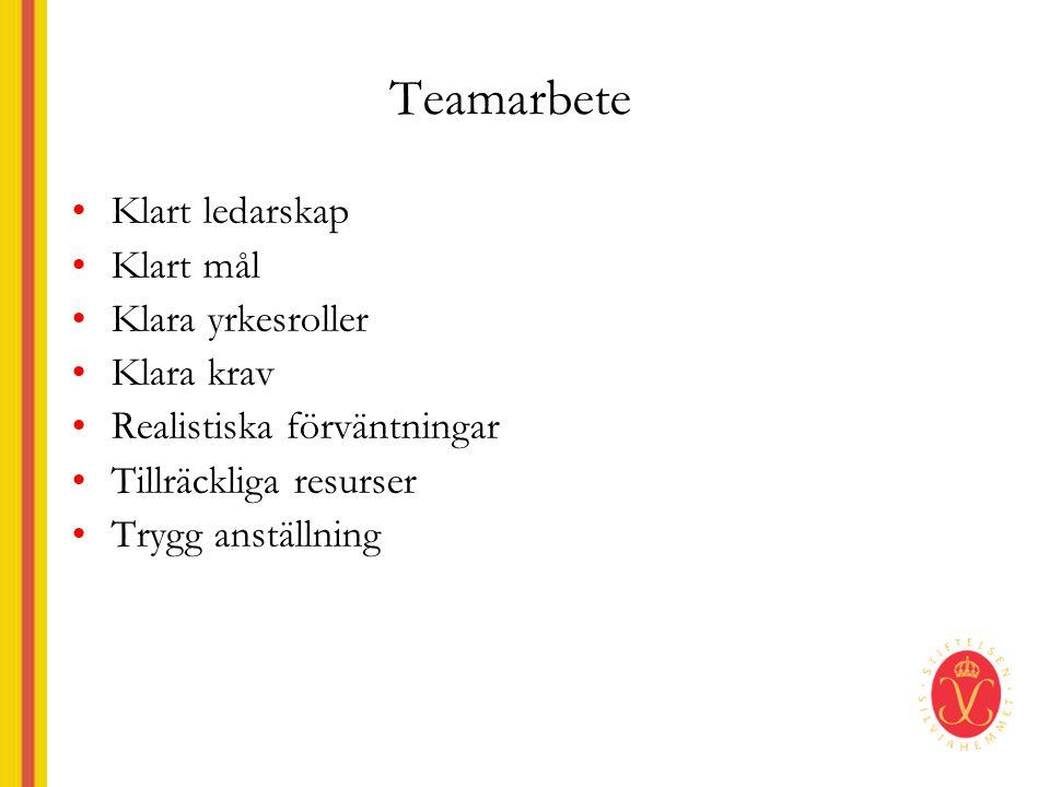 Teamarbete •Klart ledarskap •Klart mål •Klara yrkesroller •Klara krav •Realistiska förväntningar •Tillräckliga resurser •Trygg anställning
