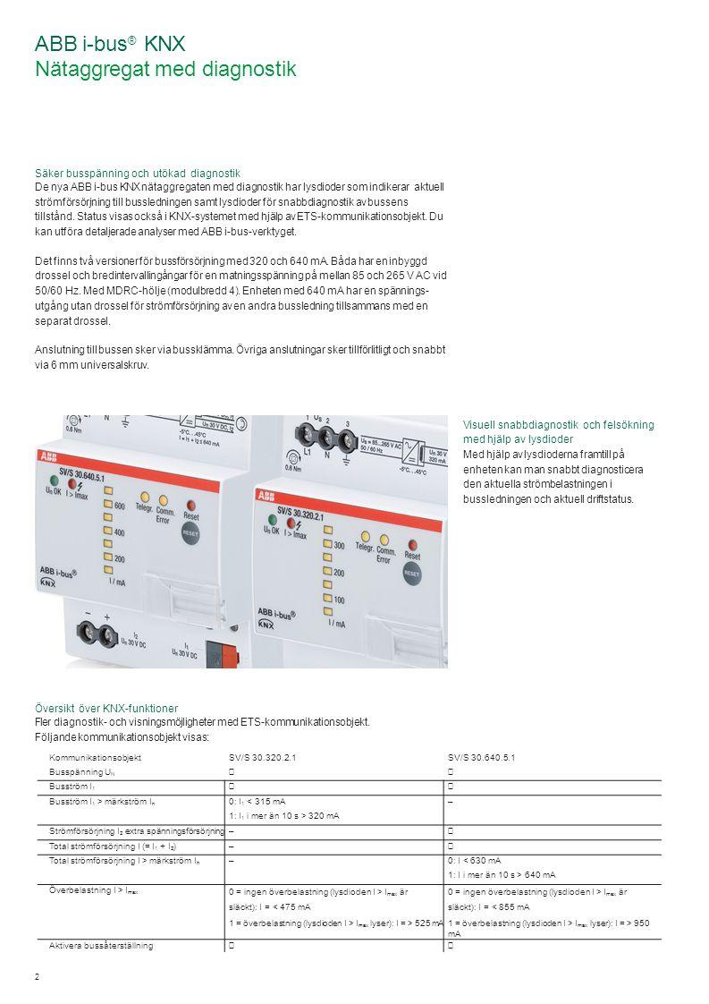 2 ABB i-bus ® KNX Nätaggregat med diagnostik Säker busspänning och utökad diagnostik De nya ABB i-bus KNX nätaggregaten med diagnostik har lysdioder som indikerar aktuell strömförsörjning till bussledningen samt lysdioder för snabbdiagnostik av bussens tillstånd.