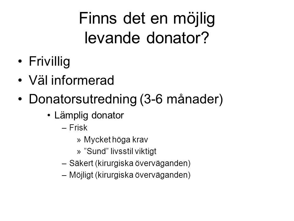 """Finns det en möjlig levande donator? •Frivillig •Väl informerad •Donatorsutredning (3-6 månader) •Lämplig donator –Frisk »Mycket höga krav »""""Sund"""" liv"""