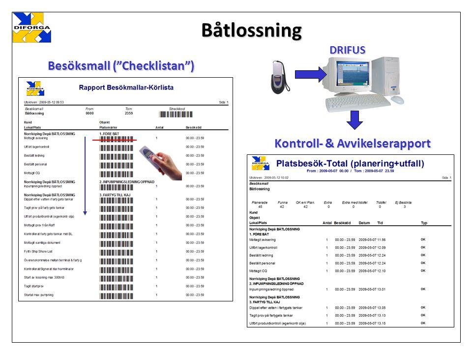 Båtlossning Besöksmall ( Checklistan ) DRIFUS Kontroll- & Avvikelserapport