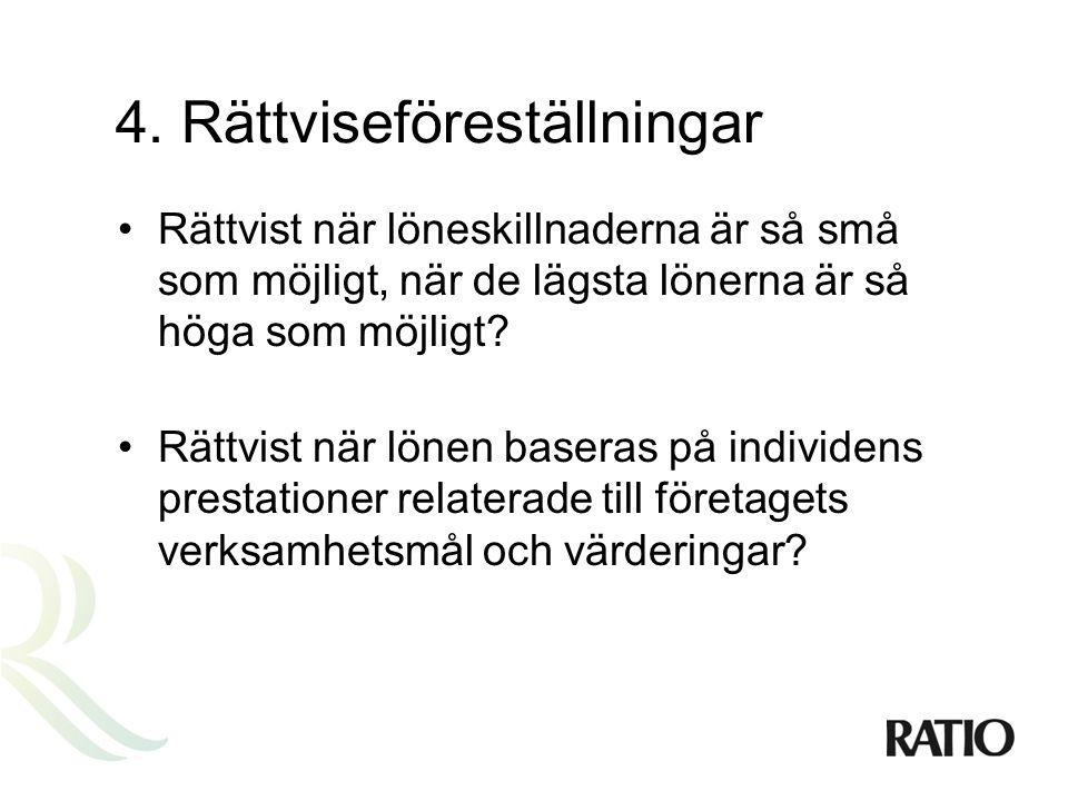4. Rättviseföreställningar •Rättvist när löneskillnaderna är så små som möjligt, när de lägsta lönerna är så höga som möjligt? •Rättvist när lönen bas