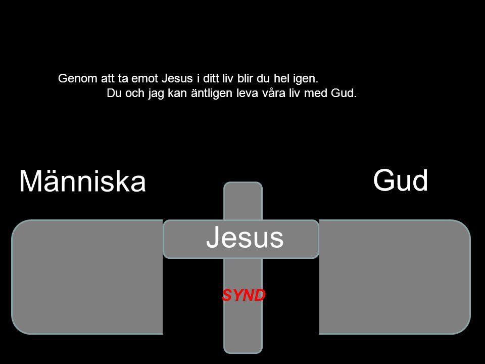 Gud Genom att ta emot Jesus i ditt liv blir du hel igen. Du och jag kan äntligen leva våra liv med Gud. Gud Jesus SYND Människa