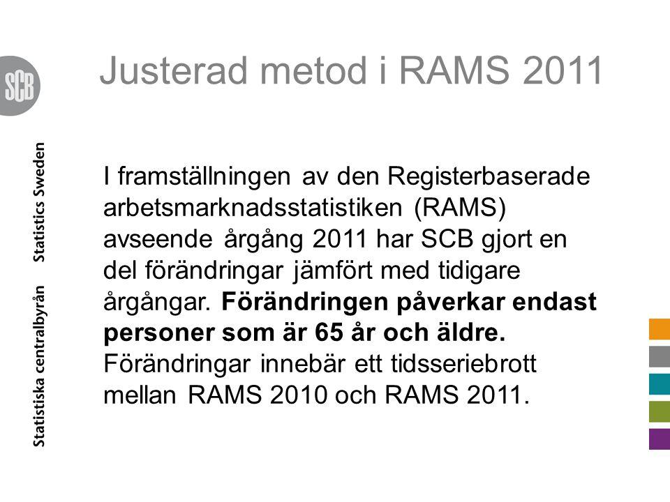Justerad metod i RAMS 2011 I framställningen av den Registerbaserade arbetsmarknadsstatistiken (RAMS) avseende årgång 2011 har SCB gjort en del förändringar jämfört med tidigare årgångar.