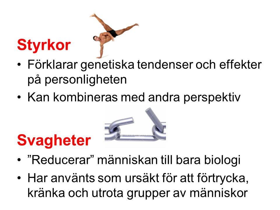 """Styrkor •Förklarar genetiska tendenser och effekter på personligheten •Kan kombineras med andra perspektiv Svagheter •""""Reducerar"""" människan till bara"""