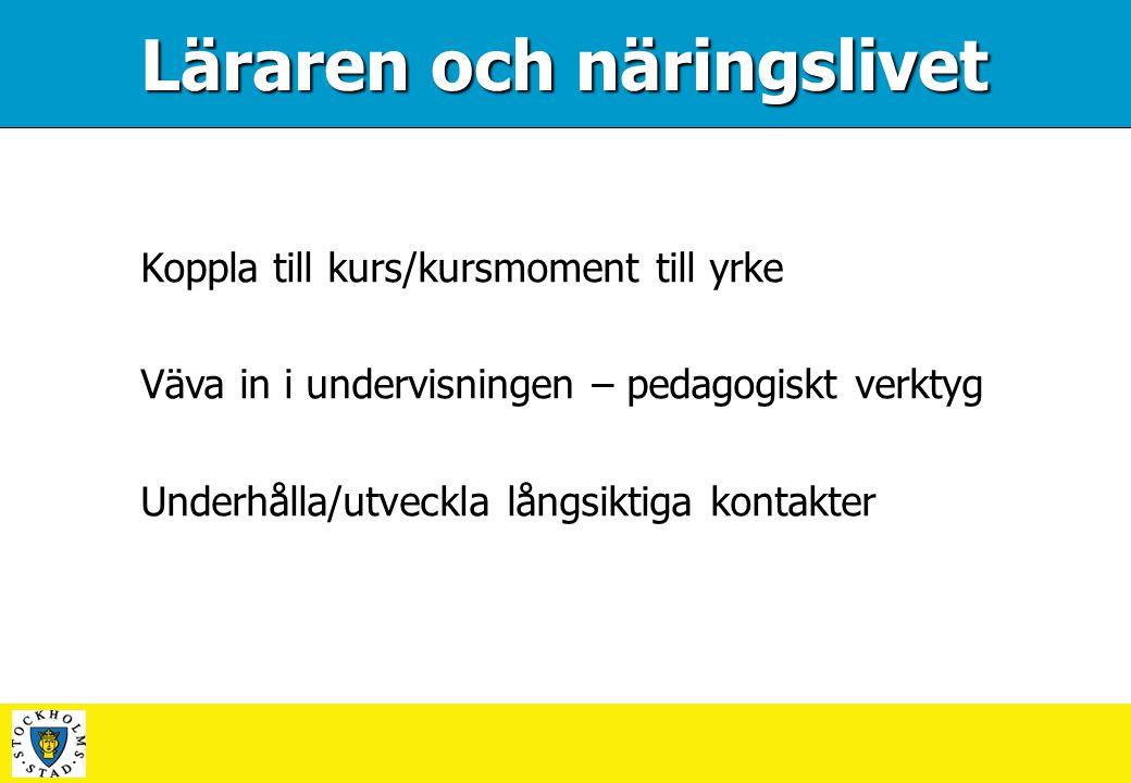 Läraren och näringslivet Koppla till kurs/kursmoment till yrke Väva in i undervisningen – pedagogiskt verktyg Underhålla/utveckla långsiktiga kontakte