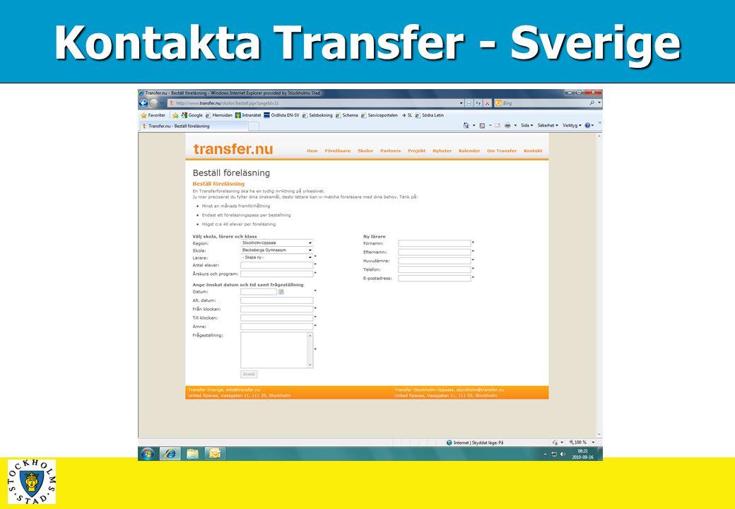 Kontakta Transfer - Sverige