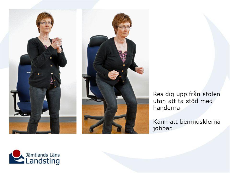 Res dig upp från stolen utan att ta stöd med händerna. Känn att benmusklerna jobbar.
