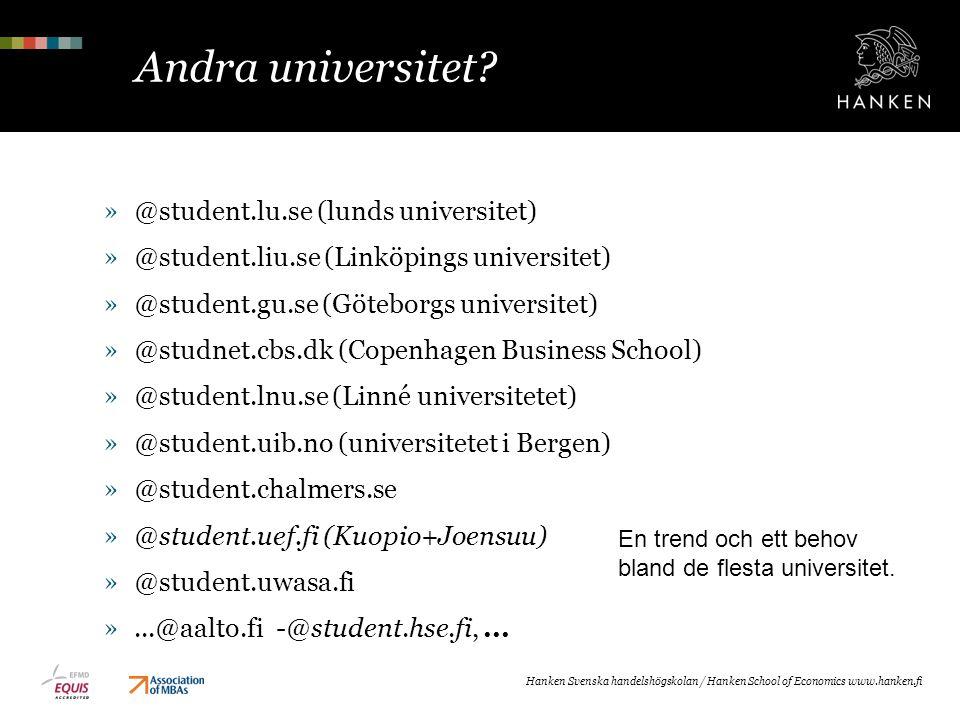 Andra universitet? »@student.lu.se (lunds universitet) »@student.liu.se (Linköpings universitet) »@student.gu.se (Göteborgs universitet) »@studnet.cbs