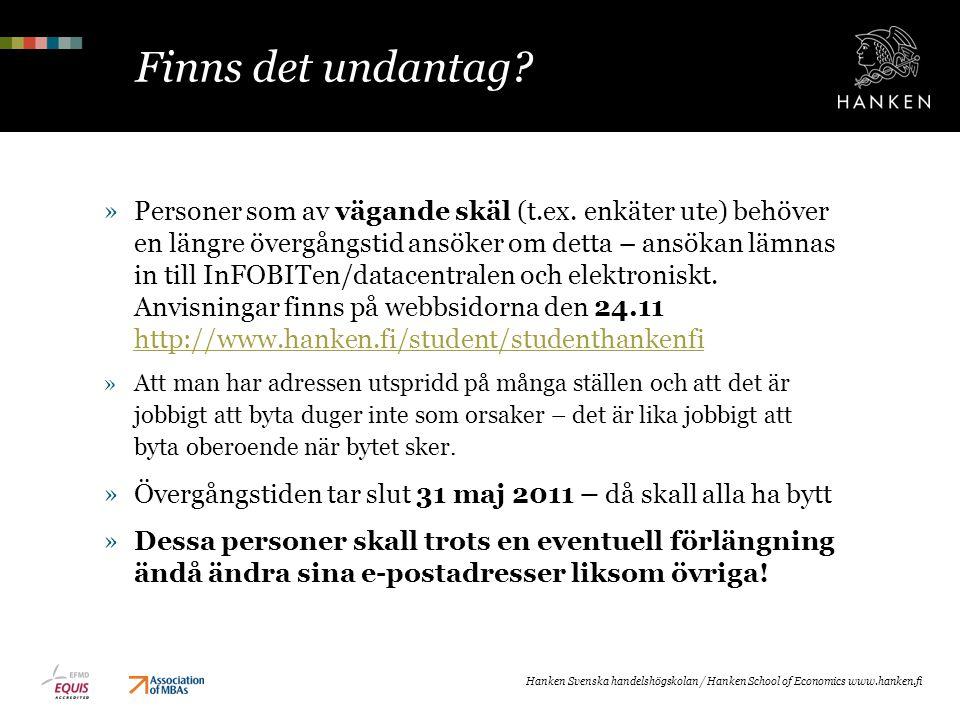 Finns det undantag? Hanken Svenska handelshögskolan / Hanken School of Economics www.hanken.fi »Personer som av vägande skäl (t.ex. enkäter ute) behöv