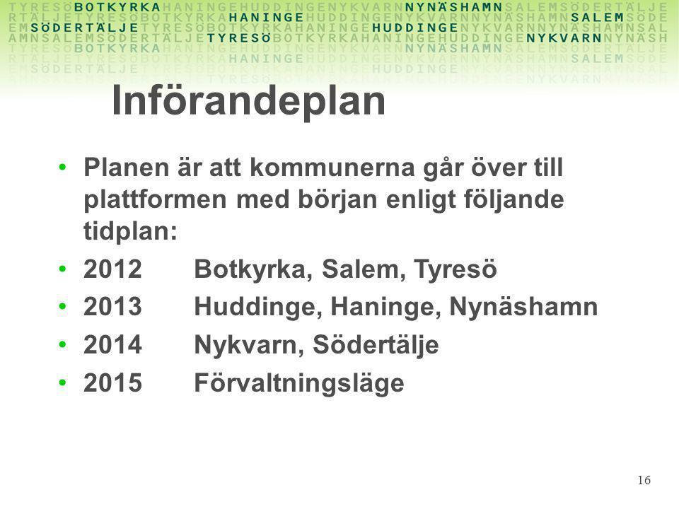 Införandeplan •Planen är att kommunerna går över till plattformen med början enligt följande tidplan: •2012 Botkyrka, Salem, Tyresö •2013Huddinge, Haninge, Nynäshamn •2014Nykvarn, Södertälje •2015 Förvaltningsläge 16