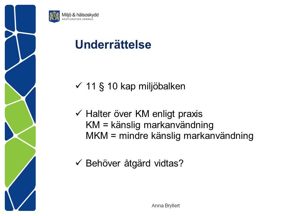 Underrättelse  11 § 10 kap miljöbalken  Halter över KM enligt praxis KM = känslig markanvändning MKM = mindre känslig markanvändning  Behöver åtgärd vidtas.