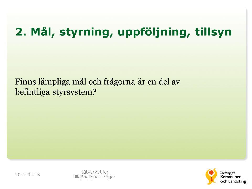 2. Mål, styrning, uppföljning, tillsyn Finns lämpliga mål och frågorna är en del av befintliga styrsystem? 2012-04-18 Nätverket för tillgänglighetsfrå
