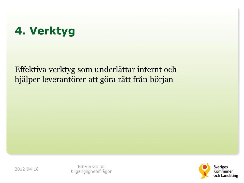 4. Verktyg Effektiva verktyg som underlättar internt och hjälper leverantörer att göra rätt från början 2012-04-18 Nätverket för tillgänglighetsfrågor