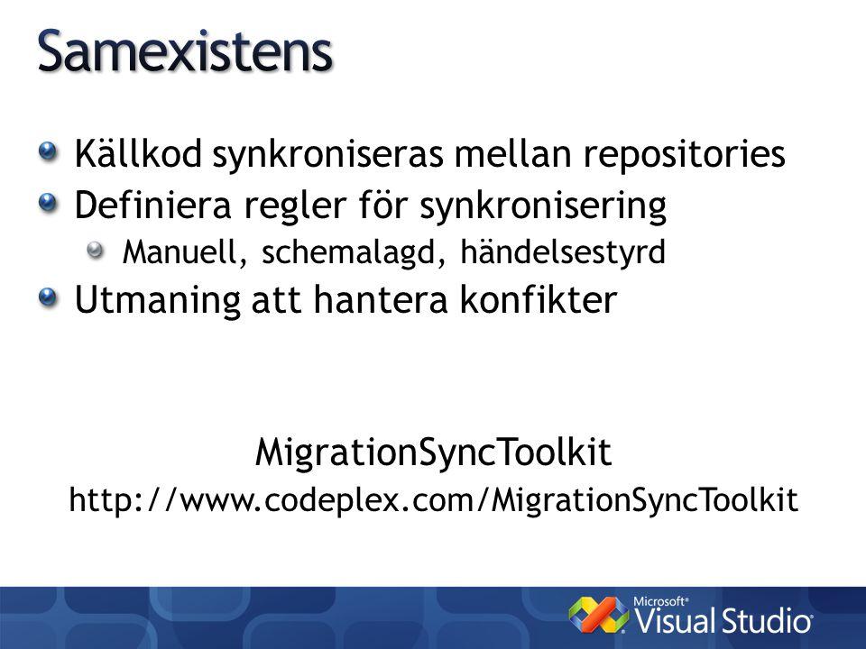 Källkod synkroniseras mellan repositories Definiera regler för synkronisering Manuell, schemalagd, händelsestyrd Utmaning att hantera konfikter MigrationSyncToolkit http://www.codeplex.com/MigrationSyncToolkit
