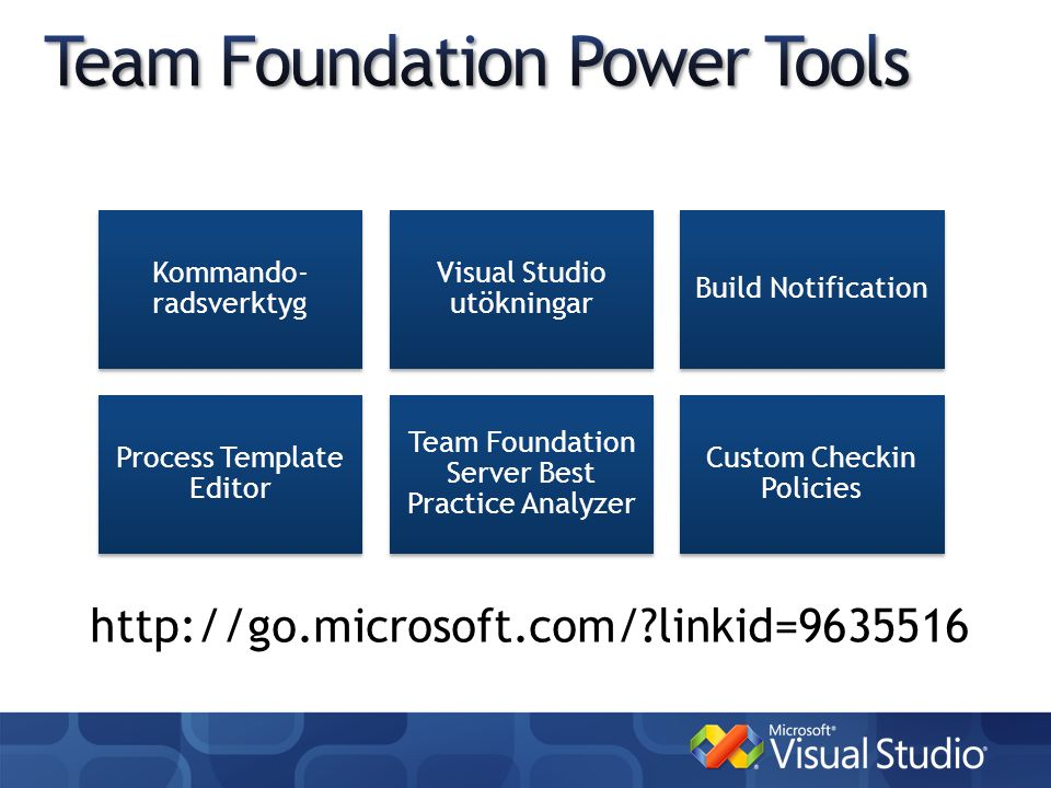 http://go.microsoft.com/ linkid=9635516 Kommando- radsverktyg Visual Studio utökningar Build Notification Process Template Editor Team Foundation Server Best Practice Analyzer Custom Checkin Policies