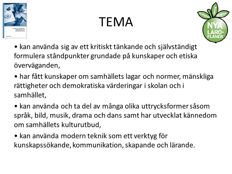 TEMA Mål (Endast ett urval…) Skolan ska ansvara för att varje elev efter genomgången grundskola: • kan använda det svenska språket i tal och skrift på