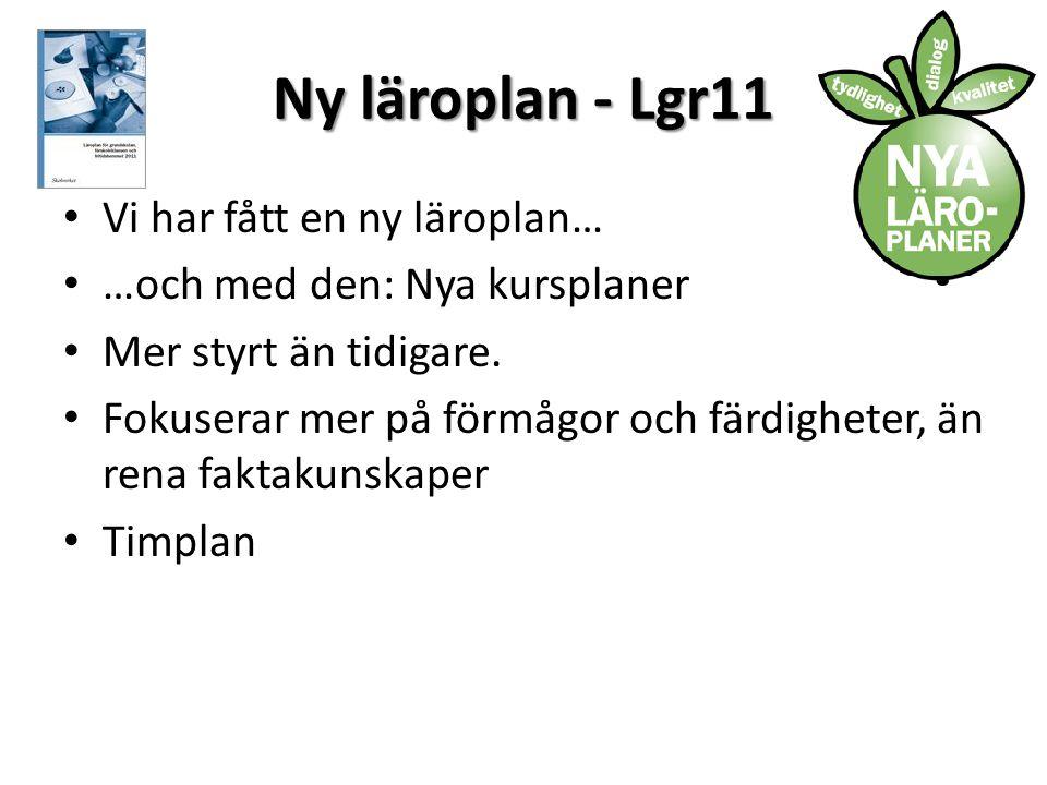 Ny läroplan - Lgr11 • Vi har fått en ny läroplan… • …och med den: Nya kursplaner • Mer styrt än tidigare.