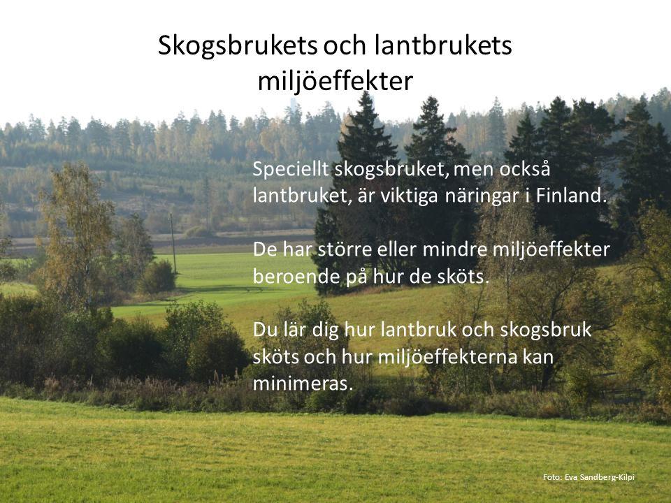 Skogsbrukets och lantbrukets miljöeffekter Speciellt skogsbruket, men också lantbruket, är viktiga näringar i Finland. De har större eller mindre milj