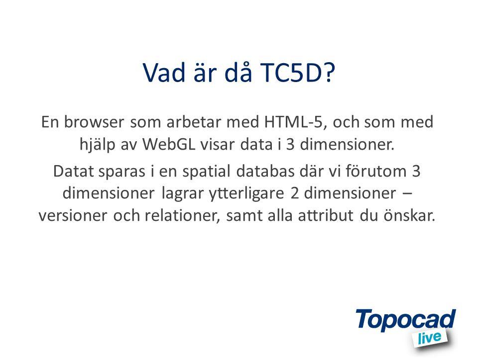 Vad är då TC5D? En browser som arbetar med HTML-5, och som med hjälp av WebGL visar data i 3 dimensioner. Datat sparas i en spatial databas där vi för