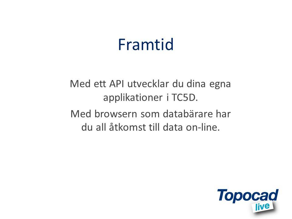 Framtid Med ett API utvecklar du dina egna applikationer i TC5D. Med browsern som databärare har du all åtkomst till data on-line.