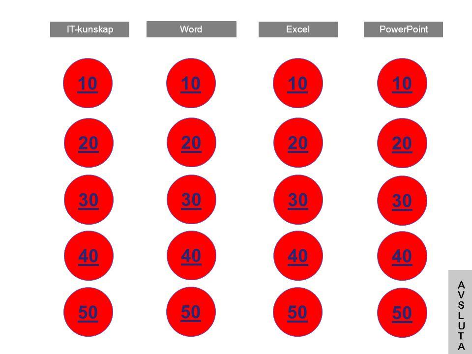 Vad använder man tangenten F5 till? Startar bildspelet Tillbaka