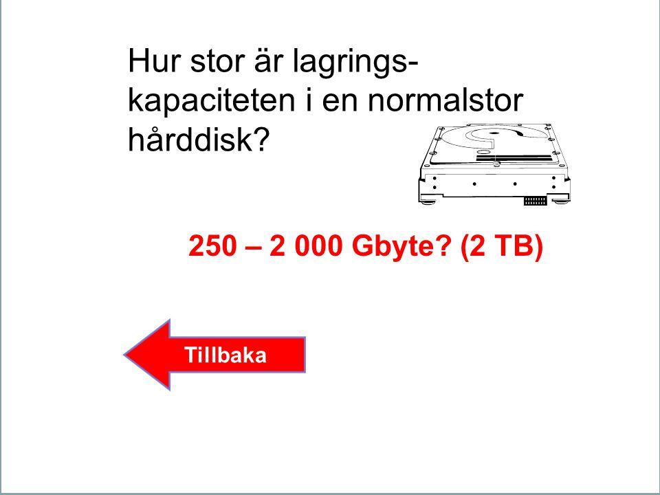 Hur stor är lagrings- kapaciteten i en normalstor hårddisk? 250 – 2 000 Gbyte? (2 TB) Tillbaka