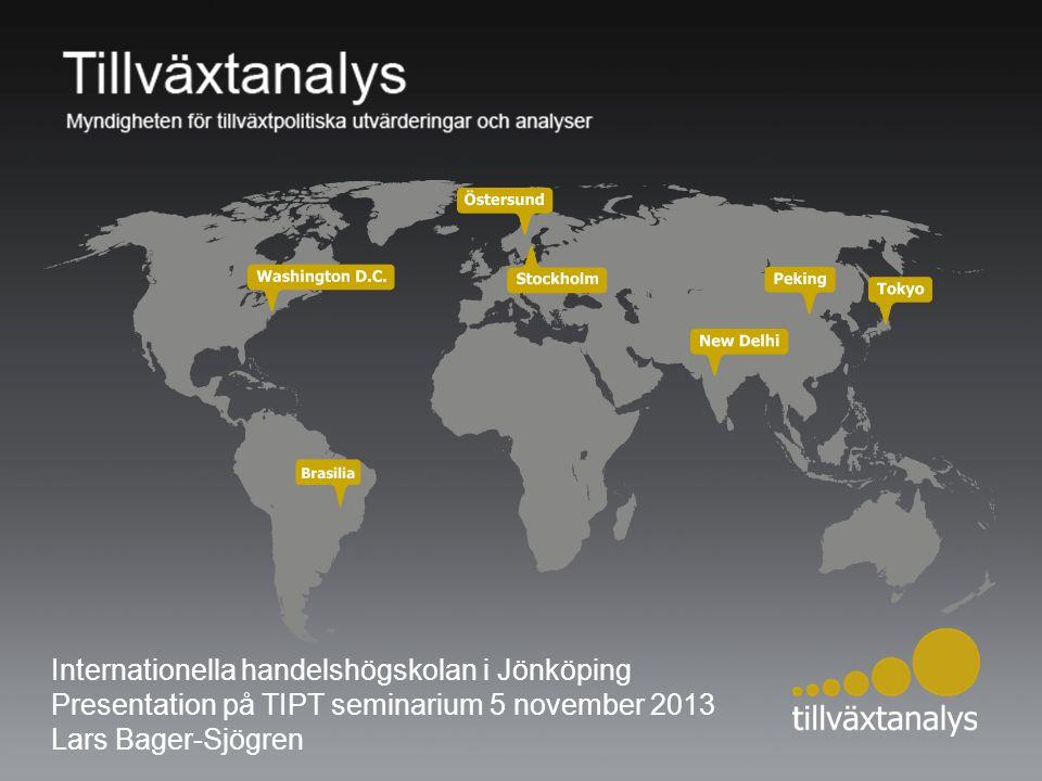 Internationella handelshögskolan i Jönköping Presentation på TIPT seminarium 5 november 2013 Lars Bager-Sjögren