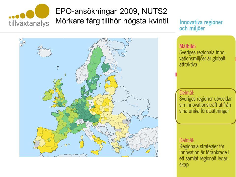 Innovativa i regioner EPO-ansökningar 2009, NUTS2 Mörkare färg tillhör högsta kvintil