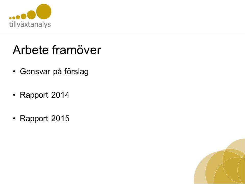 Arbete framöver •Gensvar på förslag •Rapport 2014 •Rapport 2015