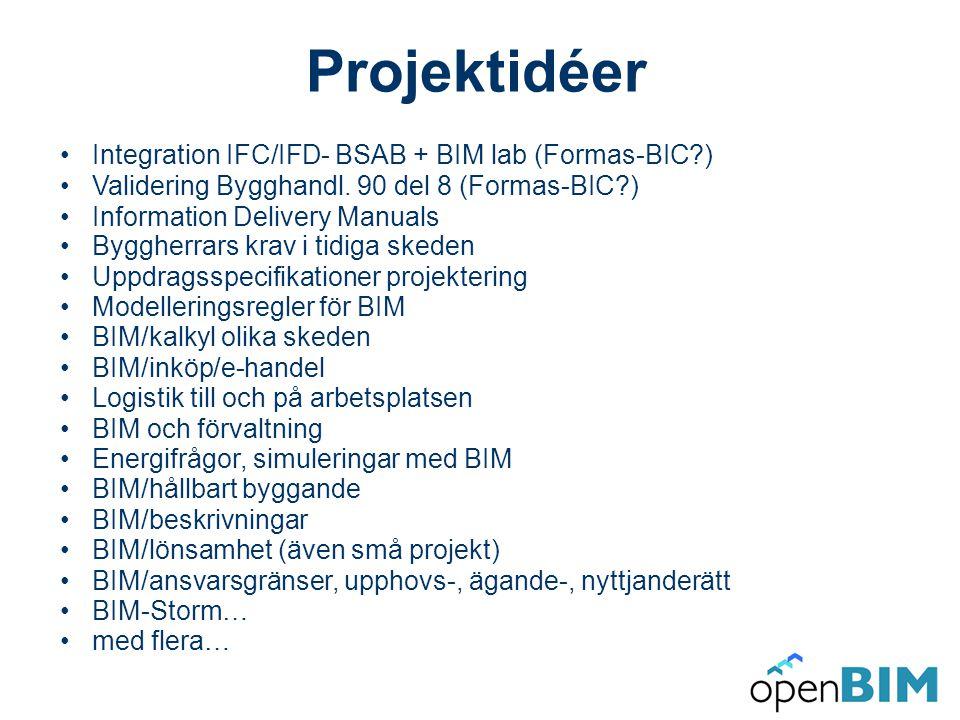 Projektidéer 20090201 •Integration IFC/IFD- BSAB + BIM lab (Formas-BIC ) •Validering Bygghandl.