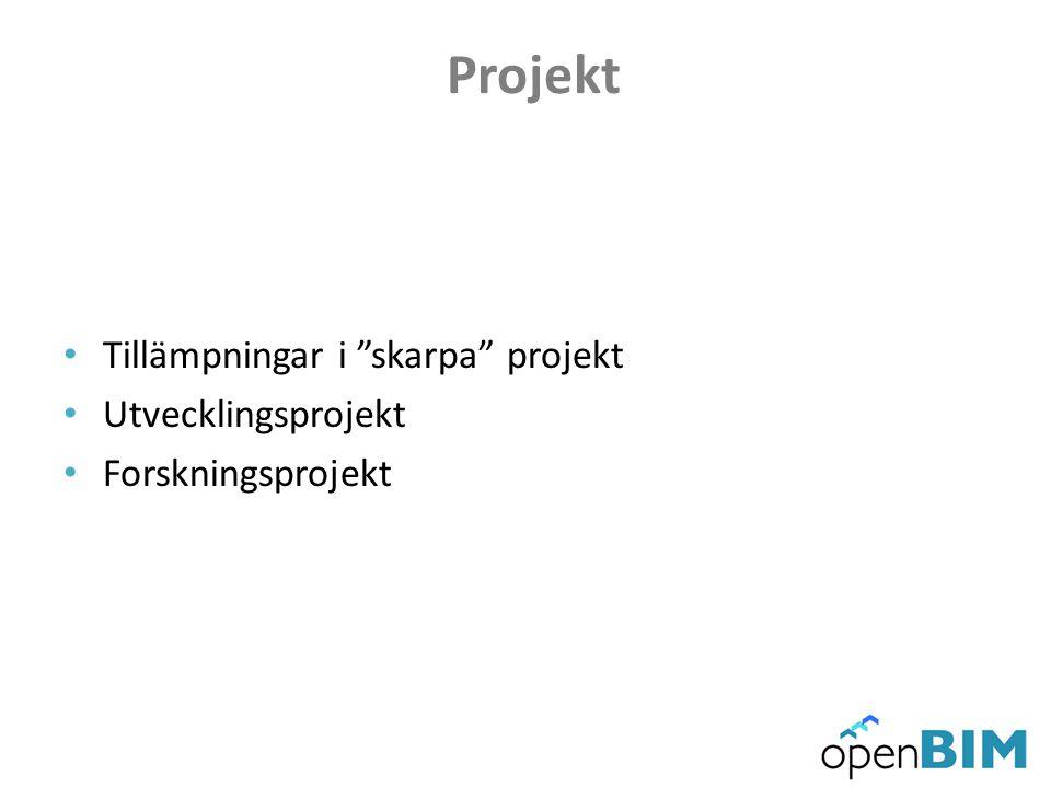 Projekt • Tillämpningar i skarpa projekt • Utvecklingsprojekt • Forskningsprojekt