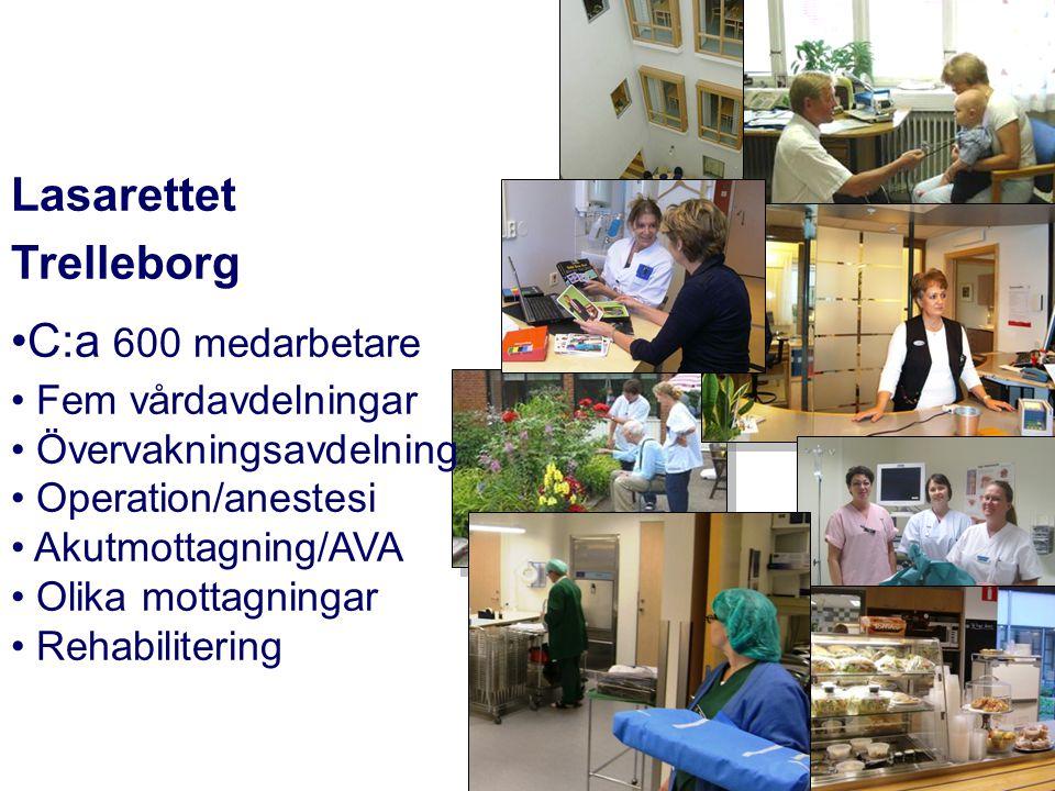 Lasarettet Trelleborg •C:a 600 medarbetare • Fem vårdavdelningar • Övervakningsavdelning • Operation/anestesi • Akutmottagning/AVA • Olika mottagninga