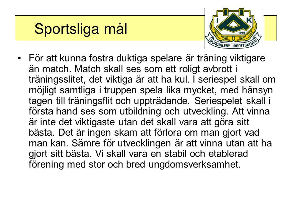 Sportsliga mål •För att kunna fostra duktiga spelare är träning viktigare än match.