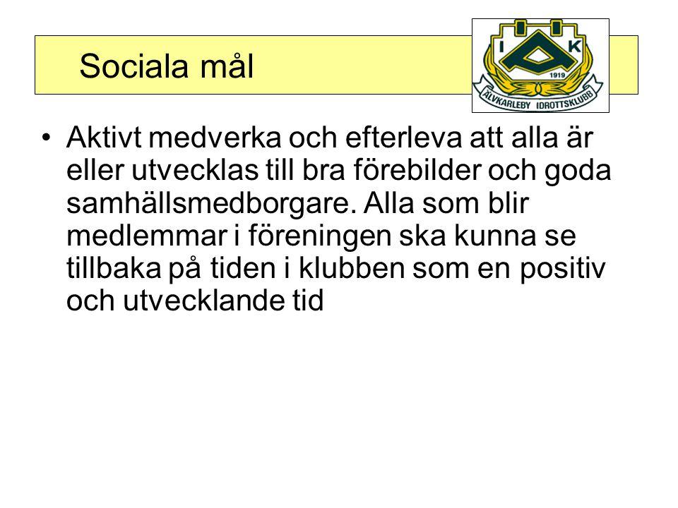 Sociala mål •Aktivt medverka och efterleva att alla är eller utvecklas till bra förebilder och goda samhällsmedborgare.