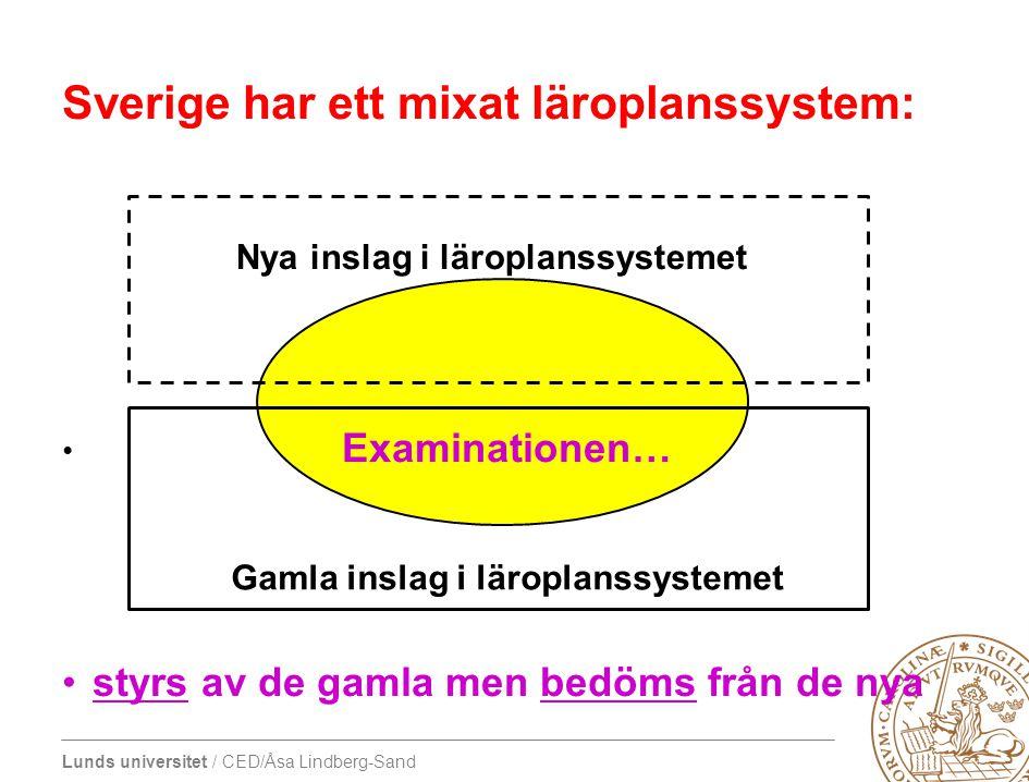 Lunds universitet / CED/Åsa Lindberg-Sand Sverige har ett mixat läroplanssystem: • Examinationen… •styrs av de gamla men bedöms från de nya Nya inslag