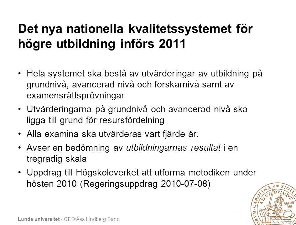 Lunds universitet / CED/Åsa Lindberg-Sand Det nya nationella kvalitetssystemet för högre utbildning införs 2011 •Hela systemet ska bestå av utvärderin