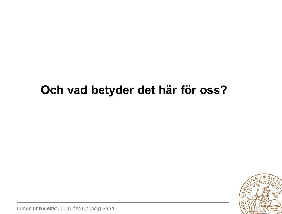 Lunds universitet / CED/Åsa Lindberg-Sand Och vad betyder det här för oss?
