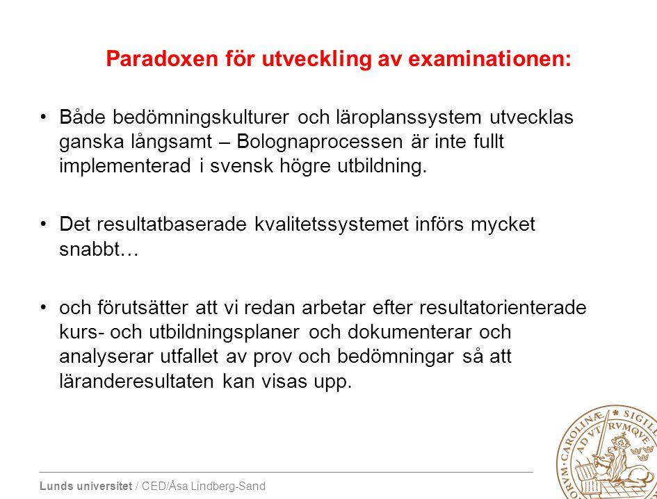 Lunds universitet / CED/Åsa Lindberg-Sand Paradoxen för utveckling av examinationen: •Både bedömningskulturer och läroplanssystem utvecklas ganska lån