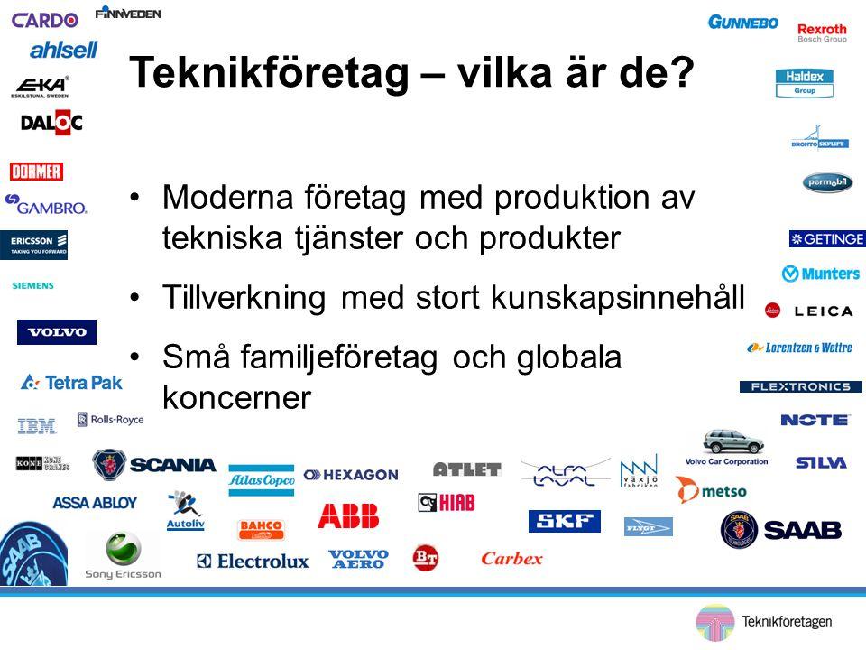 Teknikföretag – vilka är de? •Moderna företag med produktion av tekniska tjänster och produkter •Tillverkning med stort kunskapsinnehåll •Små familjef