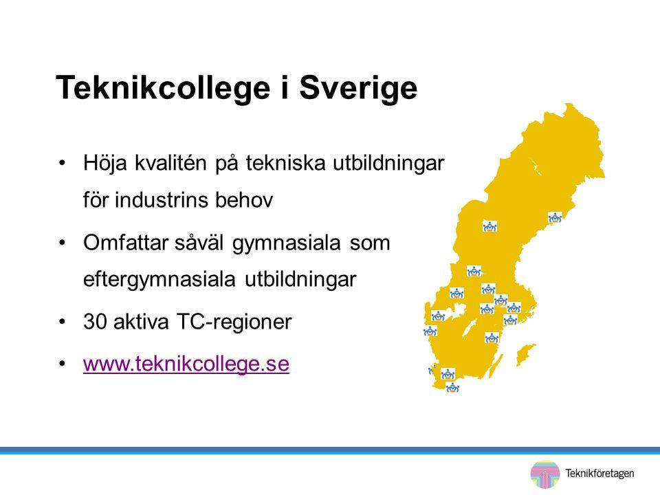 •Höja kvalitén på tekniska utbildningar för industrins behov •Omfattar såväl gymnasiala som eftergymnasiala utbildningar •30 aktiva TC-regioner •www.t