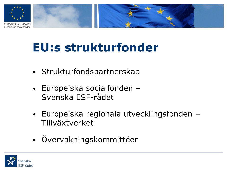 EU:s strukturfonder • Strukturfondspartnerskap • Europeiska socialfonden – Svenska ESF-rådet • Europeiska regionala utvecklingsfonden – Tillväxtverket