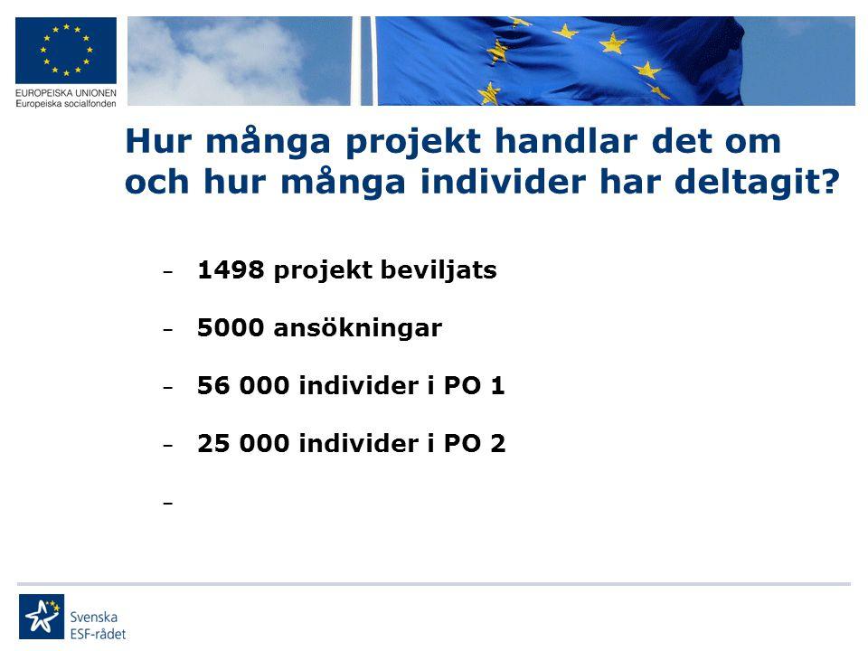 Hur många projekt handlar det om och hur många individer har deltagit? – 1498 projekt beviljats – 5000 ansökningar – 56 000 individer i PO 1 – 25 000