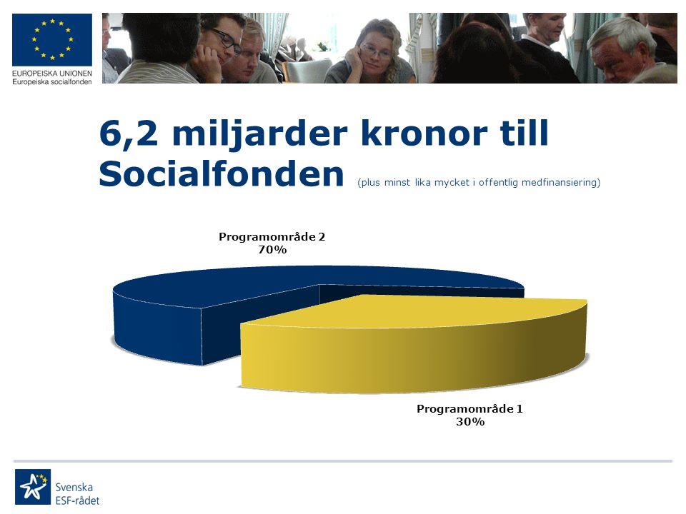 6,2 miljarder kronor till Socialfonden (plus minst lika mycket i offentlig medfinansiering)