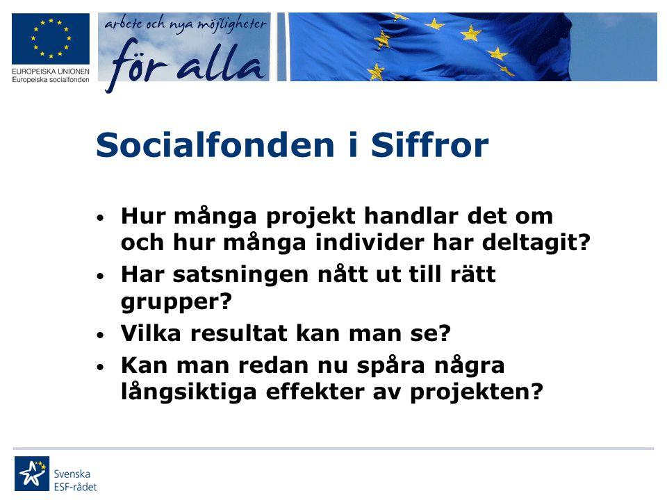 Socialfonden i Siffror • Hur många projekt handlar det om och hur många individer har deltagit? • Har satsningen nått ut till rätt grupper? • Vilka re